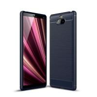 Чехол Carbon Fibre для Sony Xperia 10 Plus (Темно-синий)