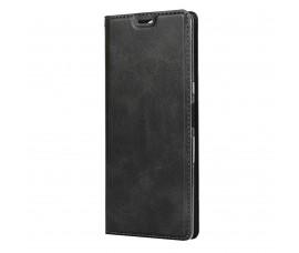 Кожаный книжка чехол с магнитом для Sony Xperia 10 (Черный)