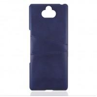 Кожаный чехол со слотом для карт для Sony Xperia 10 (Синий)
