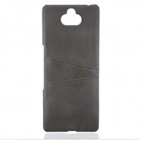 Кожаный чехол со слотом для карт для Sony Xperia 10 (Серый)