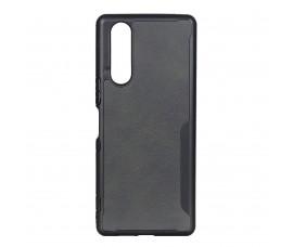 Пластиковый чехол c кожаной вставкой для Sony Xperia 5  (Черный)