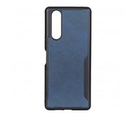 Пластиковый чехол c кожаной вставкой для Sony Xperia 5 (Синий)