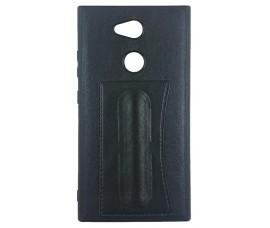 Гелевый чехол с кожаной вставкой и подставкой для Sony Xperia L2 (Черный)