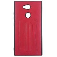 Гелевый чехол с кожаной вставкой и подставкой для Sony Xperia L2 (Красный)