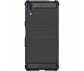 Силиконовый чехол Carbon Fiber для Sony Xperia L3 (Черный)