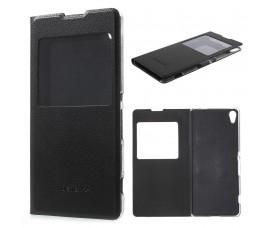 Кожаный чехол с окошкой для Sony Xperia XA (Черный)