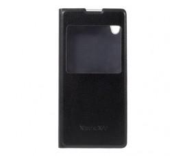 Кожаный чехол с окошкой для Sony Xperia XA1 (Черный)