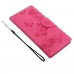 Кожаный чехол с бабочкой для Sony Xperia XA1 Ultra (Розовый)