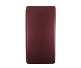 Кожаный книжка чехол для Sony Xperia XZ1 c магнетиком (Бордовый)