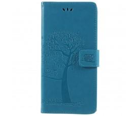 Кожаный чехол с рисунком для Sony Xperia XA2 Ultra (Синий)