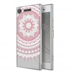 Прозрачный чехол с рисунком мандалы для Sony Xperia XZ1 (розовый)