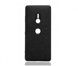 Кожаный чехол с силиконовой рамкой для Sony Xperia XZ3 (Черный)