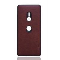 Кожаный чехол с силиконовой рамкой для Sony Xperia XZ3 (Бордовый)