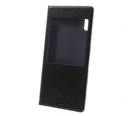 Кожаный чехол с окошкой для Sony Xperia XZ/XZs (Черный)