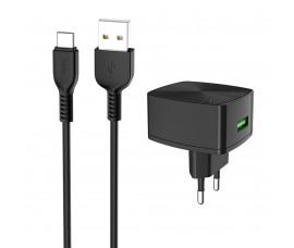 Быстрая зарядка Hoco Quick Charge с кабелем Type-C (Quick Charge 3.0)