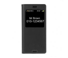 Кожаный чехол с окошкой для Sony Xperia X (Черный)